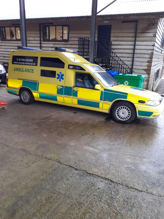mendip Medical ambulance from the side